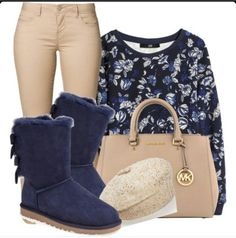 With blue Uggs