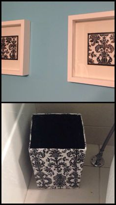 I made this wall art with plain white tiles, wrapping paper and shadow boxes from Ikea. The garbage can is a paper mached cardboard box with a glossy protectant. Cheap decor for the guest bathroom.