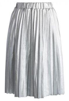 Faux Leather Pleated Skirt in Light Silver