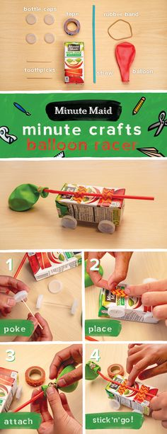 With just a few days left in the summer, Minute Maid wants to help you keep the kids entertained. Here's how to build a mini balloon car that will keep them busy for about...7 minutes. 1. Have a parent or adult poke holes in 4 bottle caps and push 2 caps onto the ends of each toothpick 2. Place and tape toothpicks + wheels to juicebox 3. Attach balloon at short end of straw, wrap rubber band around to tighten, tape straw to top of box 4. Blow into straw to power car and you're good to go!