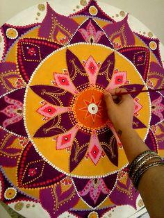 Mandala MDF, 90cm, acrílica arte de Rosangela Bavaresco