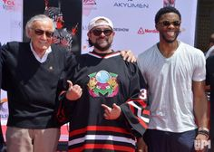 Marvel comic book writer Stan Lee, filmmaker Kevin Smith and actor Chadwick Boseman (L-R) participate in a hand and footprint ceremony…