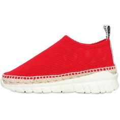 Kenzo Women 50mm K-lastic Mesh Sneakers (4.576.630 IDR) ❤ liked on Polyvore featuring shoes, sneakers, red, rubber sole shoes, kenzo shoes, red sneakers, mesh sneakers and mesh shoes