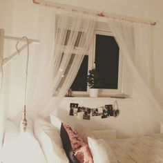 Ikea LILL curtains, home made pendant bulb lamp with Ikea bracket, Ikea bedding. Copper pipe curtain rail and Ikea Culsia plant! MY SWEDISH INSPIRED #bedroom!