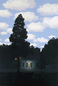 """... ¿Te acuerdas de este cuadro? Yo me quedé maravillada con lo que me hizo Sentir y tú te quedaste maravillado con la Técnica... Entonces no me di cuenta, pero ahora tengo esta Certeza: tú y yo somos incompatibles... Como agua y aceite.  (R. Magritte - """"L'Empire des lumières"""", 1953-54)"""