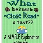 What Does it Mean to Close Read a Text?? A Simple Explanation free tpt