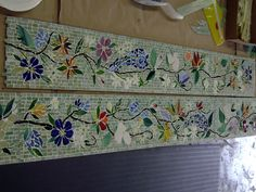 We created this custom, glass mosaic border in a floral motif for our client in Florida. It will be installed in her new kitchen. The colorful flowers are made from hand-cut stained glass and fus. Mosaic Diy, Mosaic Crafts, Mosaic Projects, Mosaic Glass, Mosaic Tiles, Glass Art, Stained Glass, Mosaic Stairs, Tiling