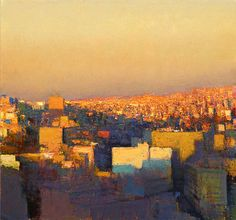 """"""" Andrew Gifford, View from the Wild Jordan Cafe Looking North East, Sunset Study, 2011, Oil on panel """""""