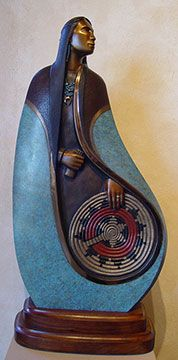"""""""Basket Weavers Pride"""" Bronze by Larry Yazzie  Native American and Southwest Art and Jewelry ? Turquoise Tortoise Gallery, Sedona"""
