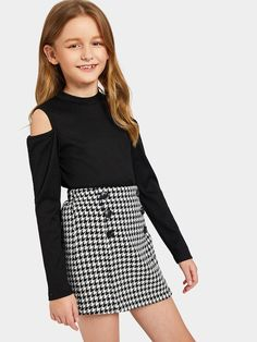 Girls Cold Shoulder Rib-Knit Tee And Houndstooth Skirt Set - Outfits for mia - Kids Outfit Teenage Girl Outfits, Girls Fashion Clothes, Kids Outfits Girls, Cute Girl Outfits, Tween Fashion, Cute Outfits For Kids, Pretty Outfits, Cool Outfits, Girls Dresses