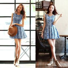 High Quality Fashion Women Cute Dress Floral Print Cut-out Shoulder Zipper Back…
