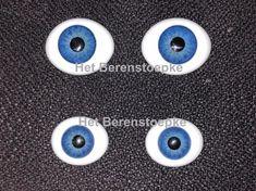 Prachtige ovale paperweight ogen van massief glas, o.a. geschikt voor (replica) antieke Franse poppen en voor het vervangen van verkleurde acryl-ogen in vinylpoppen. Ze hebben een mooie dikke ooglens.