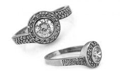 """Zásnubný prsteň,, Elise 9"""" biele zlato"""