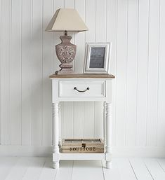 Brittany white lamp table with shelf and drawer. Lamp tables and hallway furniture to furnish your hall. From Country to Coastal, French to New England, you will find hall furniture to suit your home from The White Lighthouse. Order online with fast delivery.