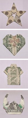 dollar bill origami! Just made a t-Shirt for my little Brother for a Birthday party!! Great Ideas and tons of variations!
