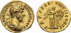 Aureus 163/164 n.Chr. KAISERZEIT Lucius Verus, 161-161 n.Chr. Prachtexemplar von schönster Erhaltung. St