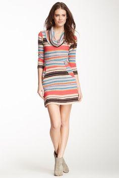 Striped Cowl Sweater Dress