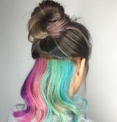"""Rainbow Hair Color Underneath 42643 the """"hidden Rainbow"""" Hair by Siij Hair Mua Hair Hidden Rainbow Hair, Hair Color Underneath, Pelo Multicolor, Peekaboo Hair, Underlights Hair, Dyed Hair Pastel, Hair Dye Colors, Hair Colour, Coloured Hair"""