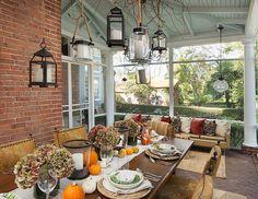 fall outdoor decorating ideas sunroom diningoutdoor dining tablesdining roomshanging - Sunroom Dining Room