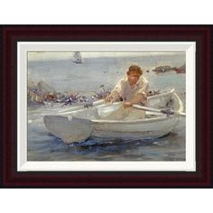 "Global Gallery Man In a Rowing Boat by Henry Scott Tuke Framed Painting Print Size: 15.1"" H x 20"" W"