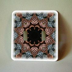 Decorated light switch plate, cones and needles mandala , botanical decor, gardener, wall decoration, teal brown home decor, kaleidoscope by RVJamesDesigns on Etsy