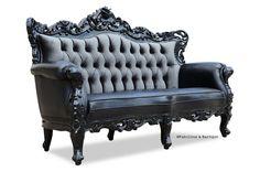 Belle de Fleur French Love Seat - Black Leather and Grey Velvet