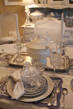 Beautiful blue and white Thanksgiving table