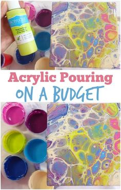 If you are just starting out in acrylic pouring these tips would be a great help in trying out cheaper materials, affordable paints, and supplies. Learn how to use cheap paint to stay on a budget in acrylic pouring. #acrylicpouring #acrylicbudget #cheapmaterials