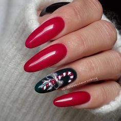50 Beautiful Stylish and Trendy Nail Art Designs for Christmas Xmas Nails, Holiday Nails, Red Nails, Cute Almond Nails, Almond Nail Art, Holiday Nail Designs, Nail Art Designs, Crazy Nails, Trendy Nail Art