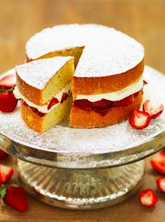 """Jo Pratt's Strawberry And Vanilla Cream Sponge~~ What is a """"knob of butter""""? Door knob? Thumb knuckle? Knob atop a cane? Tip of Carl Malden's nose? Hmmmmmm....I shall find out, and shall make this! When it's fresh strawberry time."""