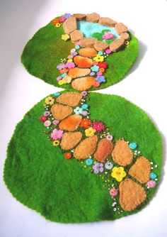 Two little mats that can be combined to create a larger garden setting.