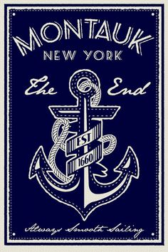 anchor screen print poster montauk new york the end vintage retro silk sailing - Etsy