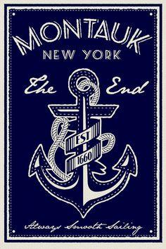 anchor screen print poster montauk new york the end vintage retro silk sailing - Etsy
