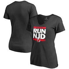 New Jersey Devils Women's RUN-CTY Slim Fit V-Neck T-Shirt - Black - $31.99