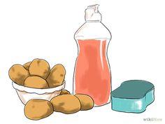 Enlever la rouille : Essayez la pomme de terre et le liquide vaisselle. Coupez une pomme de terre en deux et recouvrez-la de liquide vaisselle. Cela va créer une réaction chimique avec la rouille et la rendre plus facile à retirer. Placez la pomme de terre sur le métal et laissez poser quelques heures. Pour répéter le processus, coupez l'extrémité utilisée de la pomme de terre et rajoutez du liquide vaisselle, puis laissez poser de nouveau. Si vous n'avez pas de liquide vaisselle, utilisez…
