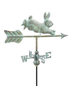 Blue Verde Copper Rabbit Weather Vane This handsome weather vane makes a charming addition to outdoor decor. The polished copper develops an attractive patina over time, while a durable assembly rod ensures years of maintenance-free enjoyment.   6'' W x 21'' H x 1'' D Copper Minimal assembly required Imported rabbit rabbits bunnies bunny cute garden gardening backyard barn yards whimsical