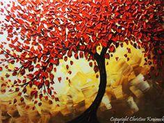 ORIGINAL Art Abstract Painting Red Tree of por ChristineKrainock