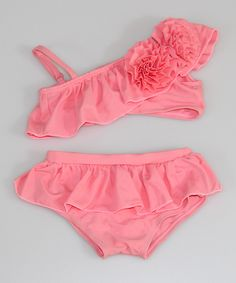 Pink Rosette Ruffle Asymmetrical Bikini - Toddler & Girls | Daily deals for moms, babies and kids