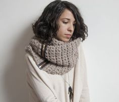 Bulky crocheted zipper cowl by Threadbare Supply Co.--costs $135, would probably take an evening to make. #crochet #reverseengineer