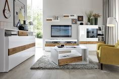 Kolekcja Drevia   Salony Agata Contemporary Living Room Furniture, White Furniture, Black Tv Stand, Modern Interior Design, High Gloss, Office Desk, Corner Desk, Living Room Decor, Sofa