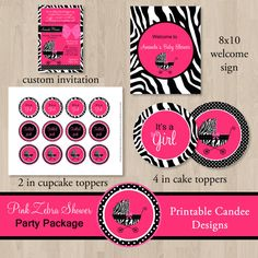 Hot Pink Zebra Baby Shower Party Package  DIY by printablecandee, $30.00