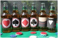 Printable beer labels perfect for a James Bond or casino theme party #JamesBond #BeerLabels
