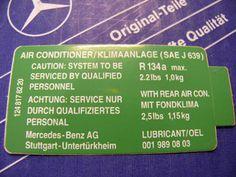 Genuine Mercedes air condition sticker R134a for W126, W124, W201 | Automotive, Parts & Accessories, Vintage Car & Truck Parts | eBay!