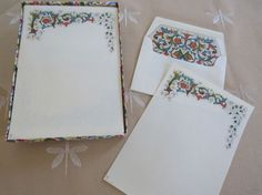 UNUSED Made In Italy Boxed Stationery Set JACOBEAN Inspired 20