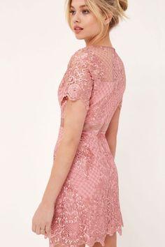 Womens *Girls On Film Dusky Pink Lace Shift Dress- Pink Pink Mini Dresses, Pink Dress, Vintage Dresses, Girls Dresses, Lace Outfit, Pink Lace, Dress Skirt, Cold Shoulder Dress, Short Sleeve Dresses