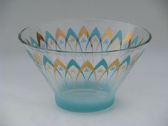 Photo of Mod aqua turquoise / gold glass punch or serving bowl that I have.