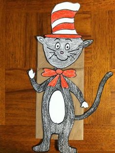 Read Across America with this Cat Puppet Kids will enjoy making this puppet!