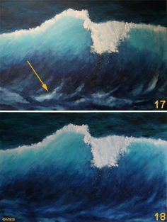Sea Painting Demonstration: Breaking Wave: The Finished Wave Painting Watercolor Art Lessons, Watercolor Art Diy, Watercolor Art Paintings, Painting & Drawing, Oil Painting Lessons, Watercolors, Acrylic Painting Techniques, Painting Videos, Art Techniques