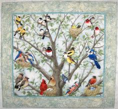 Quilted and Pieced Wall Hanging Attic Window Birds in by MiniMade ... : quilts with birds - Adamdwight.com