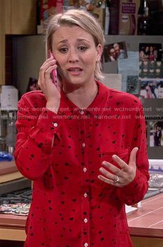 Penny's red heart print shirt on The Big Bang Theory.  Outfit Details: http://wornontv.net/52377/ #TheBigBangTheory